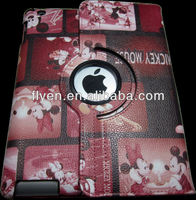 mickey mouse pattern desgin 360 degree rotating case stand for ipad 4 ipad 3 ipad 2 leather magnetic red material smart cover