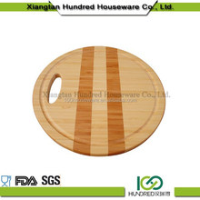 Eco-Friendly Strong unique design round wood pizza bamboo cutting board with handle