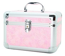 Romance pink flower delicate design cute cosmetic case aluminum case jewelry case with mirror RZ-SC-094