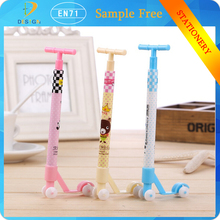Wholesale stationery Children's novelty scooter shape for kids gift bicycle crystal 0.5mm Plastic ball point pen