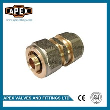 High quality APEX Wholesales Price 16mm*16mm Equal Brass Compression Straight PEX Fitting