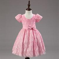 A075 Pink High Quality Lace Fashion Kids Party Wear Girls' Dress