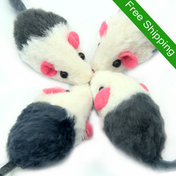 Free Shipping Real Rabbit Fair Grey White Mouse Cat Toys Products Pet Products Wholesale Factory Produce Fast Shipping
