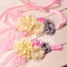 Pink 2pcs Set Baby Girl Sash and Matching Headband Photography Props