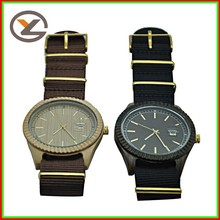 New design elegant shape handmade wooden watch with nylon strap