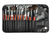 Cheap 12 pcs cosmetic brush set with black PU bag