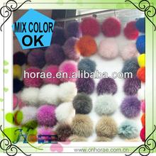 9cm diameter mix colors fox fur ball for keychain