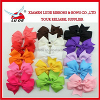 Fashion Girl's Knit ribbon bow headband with ribbon flower