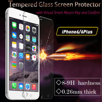 2015 hot selling intelligent tempered glass screen protector for iphone 6/6s with virtual smart return key and confirm