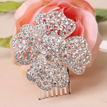 jewelry silver plated compact plug comb comb fashion Clover diamond bridal hair accessories wholesale