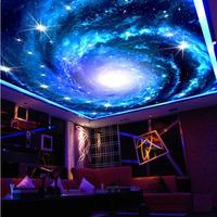 Look into the sky ceiling design hotel sky shiny glitter 3d mural wallpaper for KTV restaurant wall background non woven
