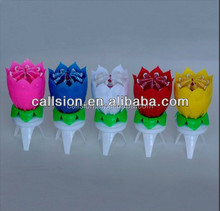 Paraffin Wax Material lotus flower music fireworks birthday candles