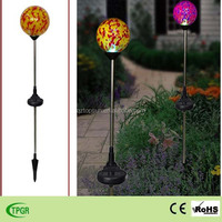 Solar LED mosaic glass ball crackle ball for garden decoration outdoor change lights