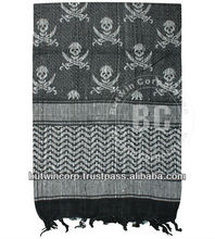 Tactical Shemagh-Jolly Roger BLK / Military Fashion Scarf 100% Cotton/Military Desert