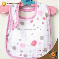 31*22cm Pink and Grey Dots Design Plain White in Baby Bibs for Promotional Gift