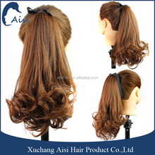 Long curly weave drawstring ponytail ,natural brown hair synthetic heat resistant ponytail hair extension