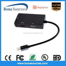 China manufacturer 3 in 1 Mini DP to DVI/ HDMI/ VGA converter cable for cheap prices