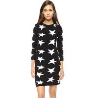 Black And White Star Pattern Women Tight Slim Wool Dress