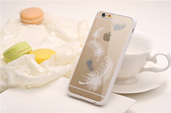 Fashion hard transparent PC and silicone frame phone case for iphone 6