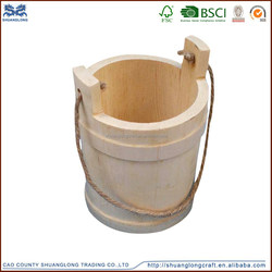 Customized wooden bucket with handle ,wholesale small round decorative wooden bucket for sale