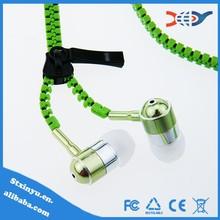 2014 hot sale oem cheap metal zipper earphone from in-ear zip earphone factory