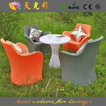 PE material furniture plastic table and chairs multicolored plastic patio furniture