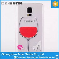 New 3D Liquid Red Wine Glass Design TPU Jelly Phone Case for Samsung Galaxy Note 4
