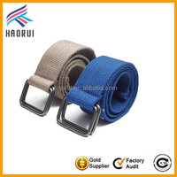 Wholesale promotional cheap double d-ring canvas men belt