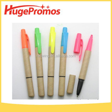 Customized Pen with Sticker Recycled Paper Highlighter Ball Pen