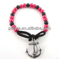 cheap price pink and black pearl cotton anchor rope bracelet