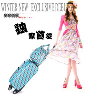 new design 3D blue stripe color lady luggage set