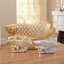european village style new product distributor wanted golden and silvery electroplated porcelain fish