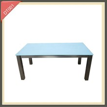 Metal frame glass top console small glass center dining table in good taste