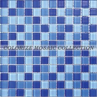Hot sale blue crystal glass mosaic tile for swimming pool tile (CM001)