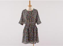 women's overprinted viscose short sleeve dress with elastic waistband