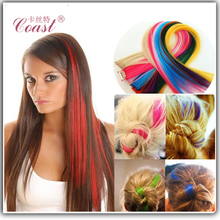 24 inch clip in colroful synthetic ombre hair extensions