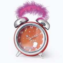 2015 hot sale big twin bell alarm clock with music with feather