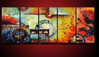 hand-painted oil wall art Color the earth decoration Abstract Landscape Framed oil painting on canvas 5pcs/set mixorde