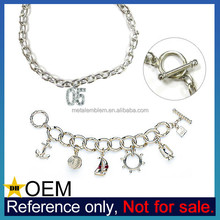 Customized Metal Charms Toggle Closure 2015 Charming Fashion Bracelet