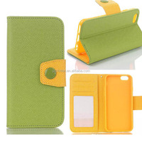 Protective Dual Color Button Flip PU Book Style Leather cases For iphone 6 with Card Holder