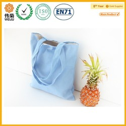 Simple style blue fabric shopping bag