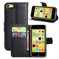 for iphone 5c case, China Suppliers Wallet Stand With Credit Card Sltos Magnet PU Leather Flip Case For iPhone 5C