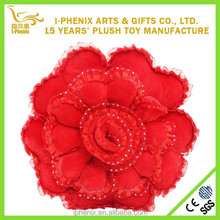 Rose Flower Shape Hot Red Pillow for Wedding Ceremony