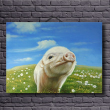 HOME DECOR decoration animal pig oil painting