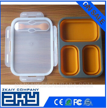 Collapsible Round food container/Eco-friendly Colorful collapsible silicone lunch box