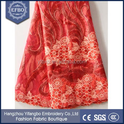 2016 New red bridal lace fabrics wholesale african mesh tulle embroidered lace fabric for Girl party dresses