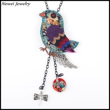 Newei 2015 Latest Design Jewelry Long Chain Pendant Necklace Handmade Fabric Bird Necklace For Girl Women