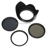 58mm UV CPL ND4 Circular Polarizing Filter Kit Set + Lens Hood For Canon Camera High-end