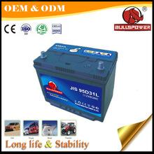 Cheap JIS MF auto Car Battery 12v 90ah 95D31R ego automatic battery