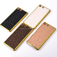 Mobile Phone Case Electroplating Chrome Football Style PU Leather Back Hard Case Cover For Sony Xperia M5